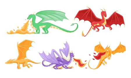 Fairy Dragons with Open Wings Shooting out Flames Vector Set Ilustração
