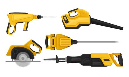 Electric Tools for Repair and Construction Vector Set Illustration