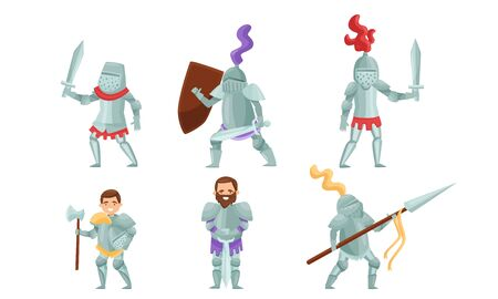 Medieval Knights Wearing Armor and Standing in a Fighting Pose Vector Set. Royal Guard with Weapons Concept