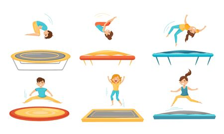 Kids Jumping on Trampoline Vector Illustrations Set. Sportive Kids Exercise and Entertainment. Boys and Girls Training Gymnastics