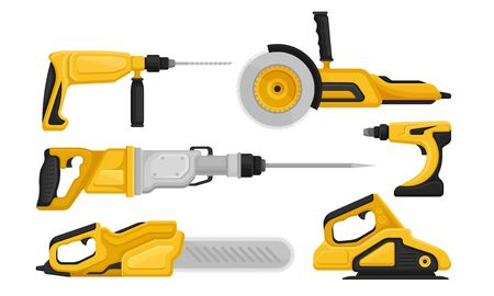 Electric Tools for Repair and Construction Vector Set. Industrial Hardware for Drilling and Perforating