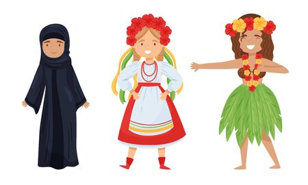 Females Wearing Traditional Costumes Standing and Smiling Vector Set