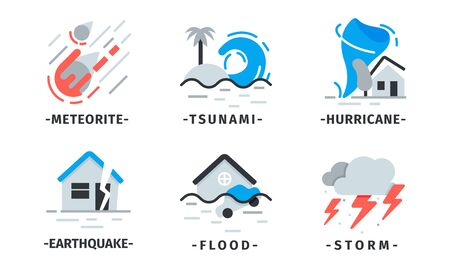 Natural Disaster Icons Vector Set. Destructive Forces of Earth
