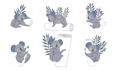 Cute Stylized Koala Animal Embracing Tree Trunk Vector Set Banque d'images - 138360791