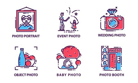Camera Modes Vector Set. Photography Equipment Setting Signs
