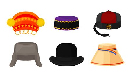 Traditional National Headwear Isolated on White Background Vector Set Vetores