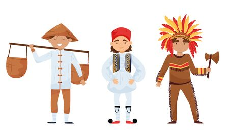 Boys in Traditional Costumes Standing and Smiling Vector Set. Diversity of Nationalities Concept Ilustração