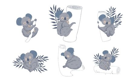 Cute Stylized Koala Animal Embracing Tree Trunk Vector Set. Funny Creature Sitting on Eucalyptus Tree Banque d'images - 138366827