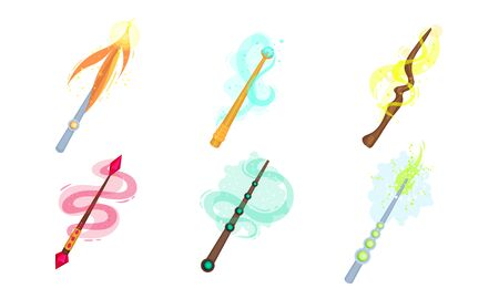 Decorative Magic Wands with Sparkling Waves Vector Set. Fairy Wizard Tricks Concept