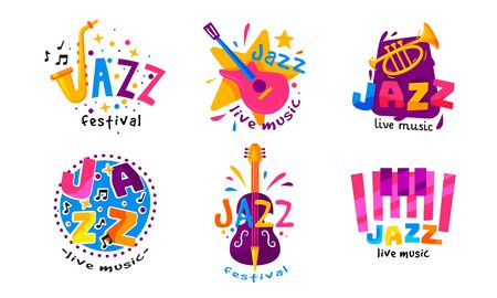Jazz Festival or Live Concert Labels or Logos Vector Set. Bright Musical Event Emblems with Musical Instruments Banque d'images - 138435121