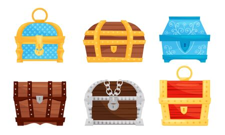 Fancy Closed Chests with Keyholes Vector Set. Colorful Wooden and Metal Containers for Treasure Storage Collection