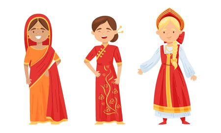Females Wearing Traditional Costumes Standing and Smiling Vector Set. Diversity of Nationalities Concept