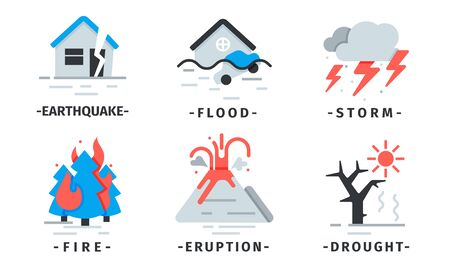 Natural Disaster Icons Vector Set. Destructive Forces of Earth. Extreme Events Pictograms Çizim