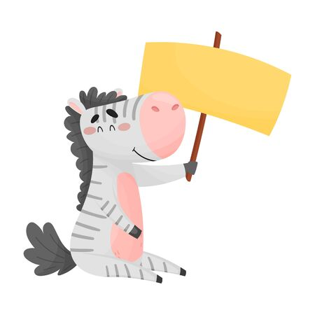 Smiling Striped Little Zebra Holding Banner with Copyspace Vector Illustration. Comic Mammal Advertising Something Concept