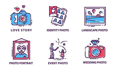 Camera Modes Vector Set. Photography Equipment Setting Signs. Digital Functions for Taking Photographs