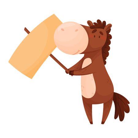 Cheval brun debout sur les pattes arrière tenant une bannière vierge Illustration vectorielle. Créature de dessin animé présentant le concept de pancarte