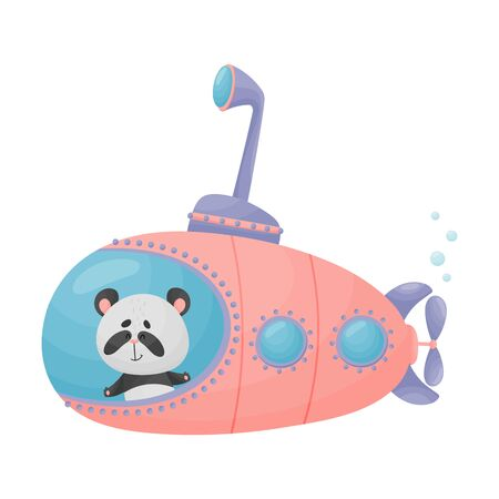 Cute Panda Looking Out of Submarine Window Vector Illustration. Cartoon Animal Diving with Undersea Boat Archivio Fotografico - 138459919