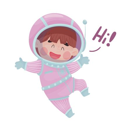 Little Astronaut Wearing Spacesuit Exploring the Moon Vector Illustration. Funny Boy Jumping and Waving Hand Ilustração