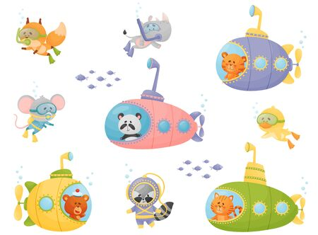 Cartoon Animals Swimming Under Water on Submarine and Wearing Diving Suit Vector Illustrations Set Banque d'images - 138460687