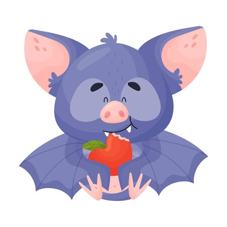 Cartoon Bat Character Eating Apple Vector Illustration. Comic Creature with Leather Wings Having Dinner Concept