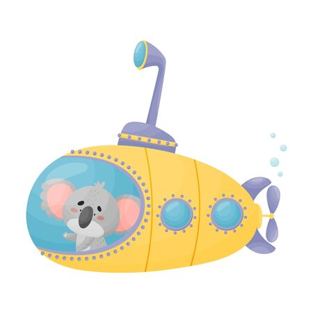 Cute Koala Looking Out of Submarine Window Vector Illustration Archivio Fotografico - 138461732