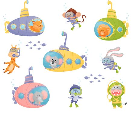 Cartoon Animals Swimming Under Water on Submarine and Wearing Diving Suit Vector Illustrations Set Illustration