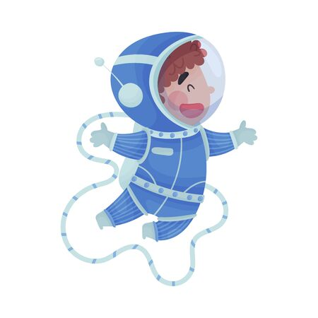 Little Boy Astronaut Wearing Spacesuit Exploring the Moon Vector Illustration