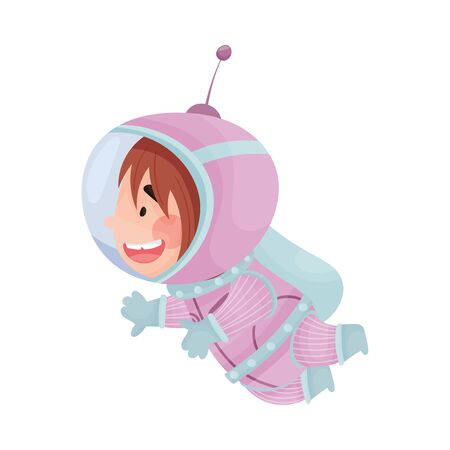 Little Astronaut Wearing Spacesuit Exploring the Moon Vector Illustration