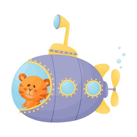 Cute Tiger Looking Out of Submarine Window Vector Illustration. Cartoon Animal Diving with Undersea Boat Archivio Fotografico - 138465914