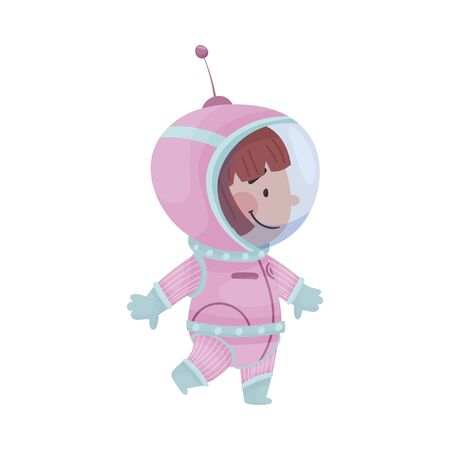 Little Astronaut Wearing Spacesuit Exploring the Moon Vector Illustration. Funny Girl Walking and Floating Under Moon Surface