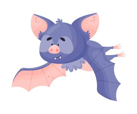 Cartoon Bat Character in Flying Pose Vector Illustration. Comic Creature with Leather Wings Hunting at Night Childish Concept