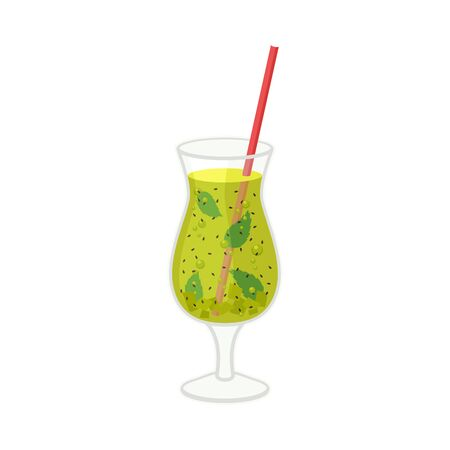 Glass of Mojito with Straw Sticking Out Vector Illustration. Alcoholic Beverage for Party Concept