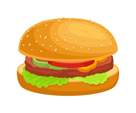 Closeup Hamburger with Vegetables and Patty Cake Isolated on White Background Vector Illustration. Fast Food Item for Quick Meal Concept  イラスト・ベクター素材