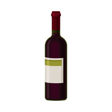 Single Bottle of Red Wine With Blank Label Vector Illustration. Alcoholic Beverage Concept