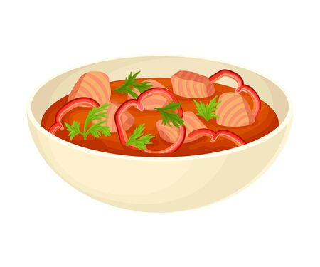 Tomato Thick Soup with Meat and Parsley Served in Deep Bowl Vector Illustration. Side View of Appetizing Dish