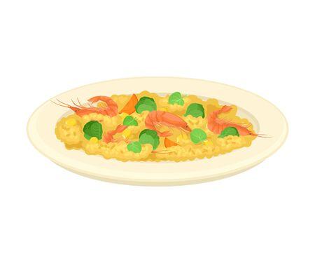 Gachas de avena con verduras y camarones servidos en placa ilustración vectorial