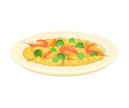 Porridge with Greenery and Shrimps Served on Plate Vector Illustration