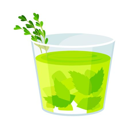 Glass of Mojito with Twig Sticking Out Vector Illustration 일러스트