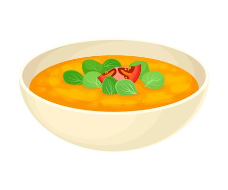 Thick Pea Soup with Spinach Served in Deep Bowl Vector Illustration