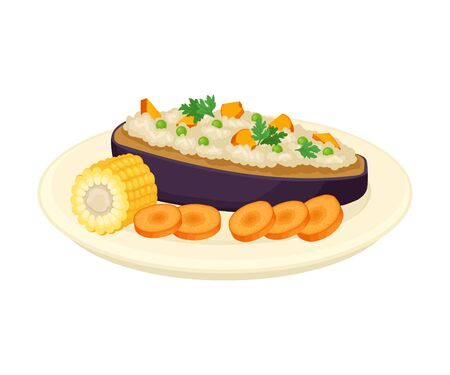 Eggplant Stuffed with Rice and Vegetables Served on Plate Vector Illustration