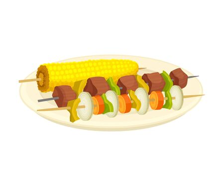 Corn Cob and Shashlik Served on Plate Vector Illustration
