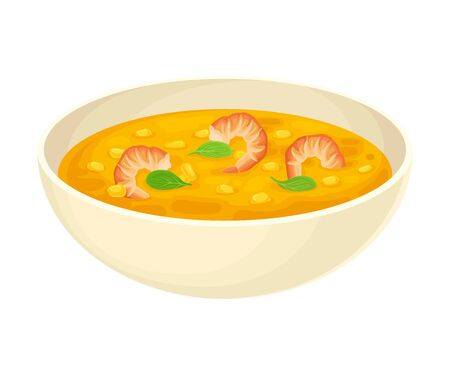Thick Soup with Shrimps and Corn Served in Deep Bowl Vector Illustration. Side View of Appetizing Dish