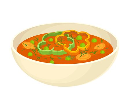 Tomato Thick Soup with Vegetables Served in Deep Bowl Vector Illustration