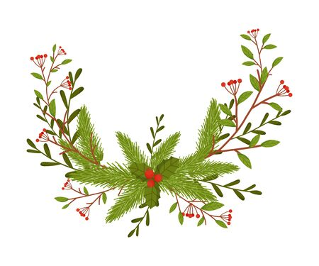 Christmas Decorative Floral Elements with Berries and Fir Tree Twigs Vector Illustrated Item Standard-Bild - 138799496