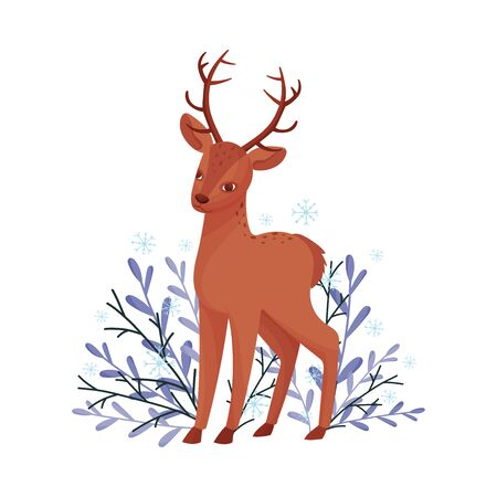 Brown Deer Near Floral Twigs. Hoofed Ruminant Mammal Standing in Branches Vector Illustration