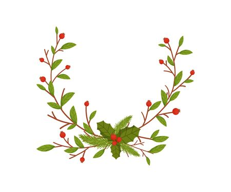 Christmas Decorative Floral Elements with Hawthorn Berries and Twigs Standard-Bild - 138803358