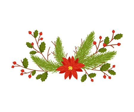 Christmas Decorative Floral Elements with Berries and Fir Tree Twigs Vector Illustrated Item Standard-Bild - 138803274