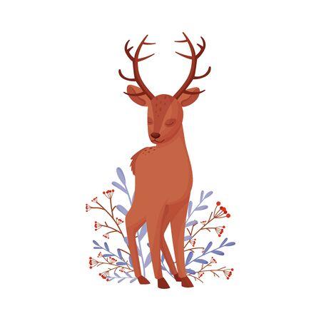 Cute Deer Animal Standing Beside Winter Flora with Closed Eyes Vector Illustration 矢量图像