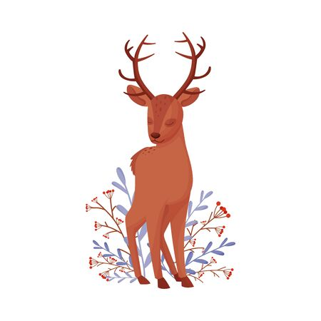 Cute Deer Animal Standing Beside Winter Flora with Closed Eyes Vector Illustration Illustration