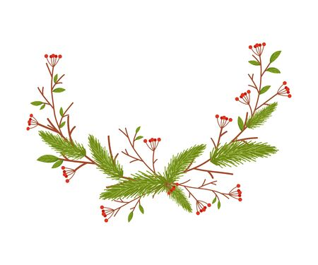 Christmas Decorative Floral Elements with Berries and Fir Tree Twigs Vector Illustrated Item Standard-Bild - 138803597